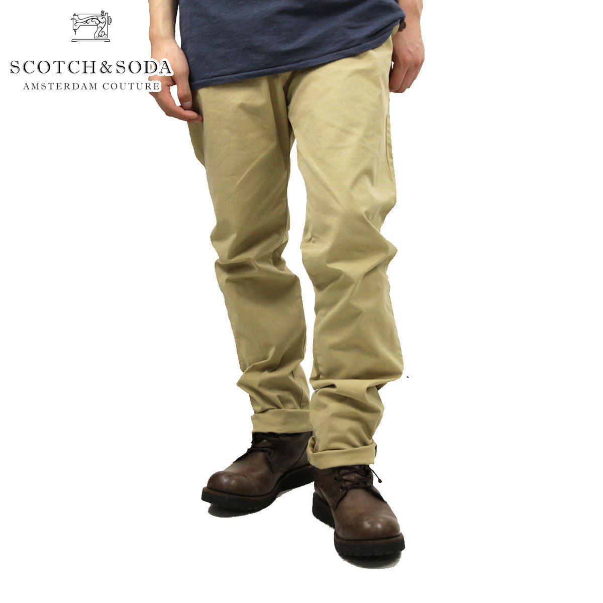 スコッチアンドソーダ SCOTCH&SODA 正規販売店 メンズ チノ Basic garment dyed chino. Slim fit - Stuart. Sold with belt 80001 06 D15S25