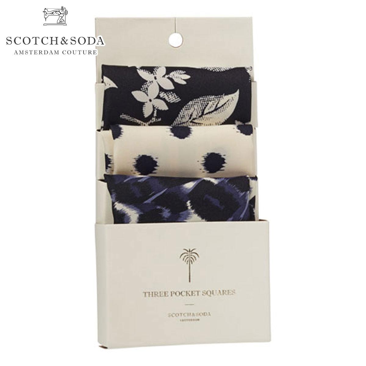 スコッチアンドソーダ SCOTCH&SODA 正規販売店 メンズ スカーフ Classic printed pochets. Sold 3 in 1 pack 77146 A