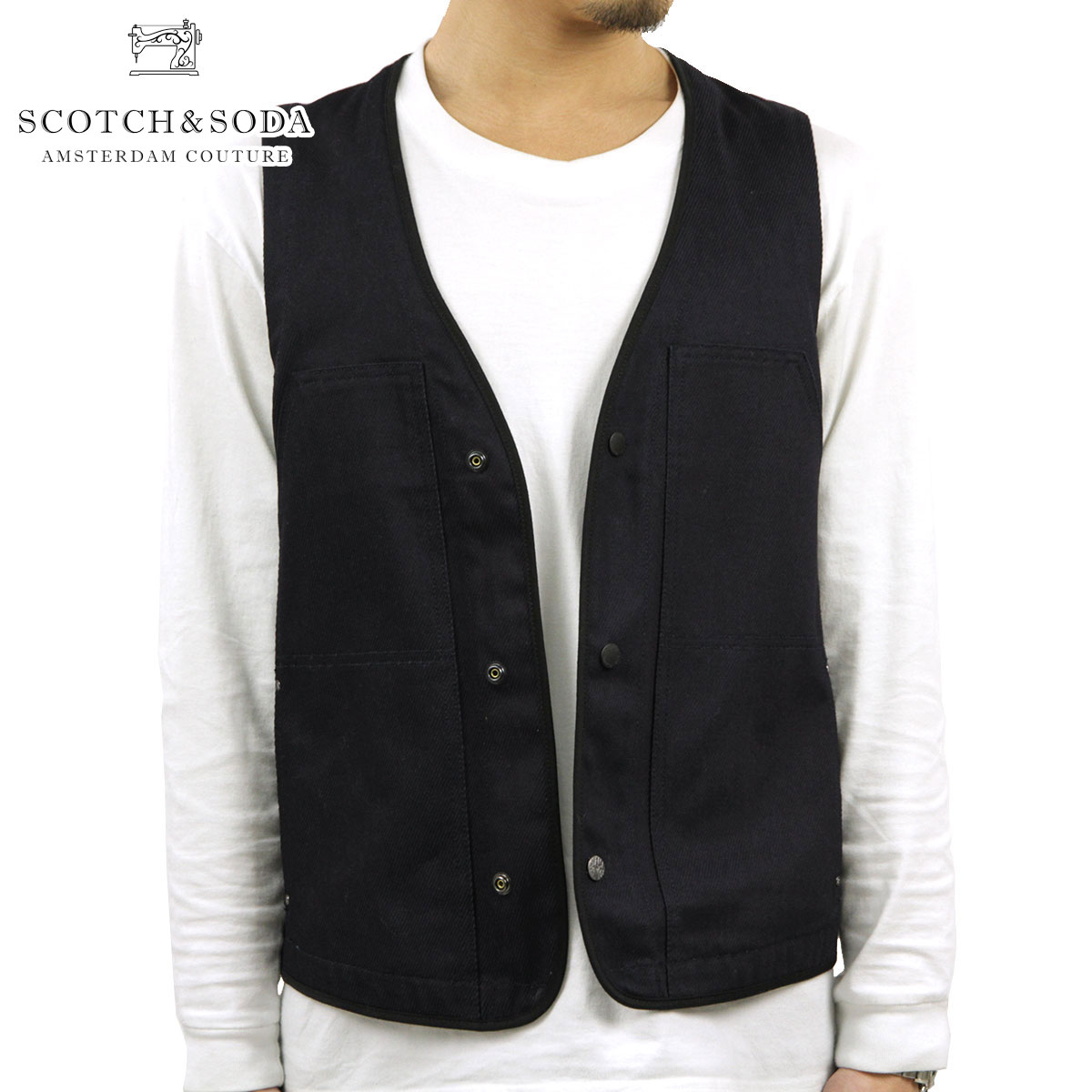 スコッチアンドソーダ SCOTCH&SODA 正規販売店 メンズ ジレ Mixed indigo twill and canvas slim worker vest 31304 51 D15S25