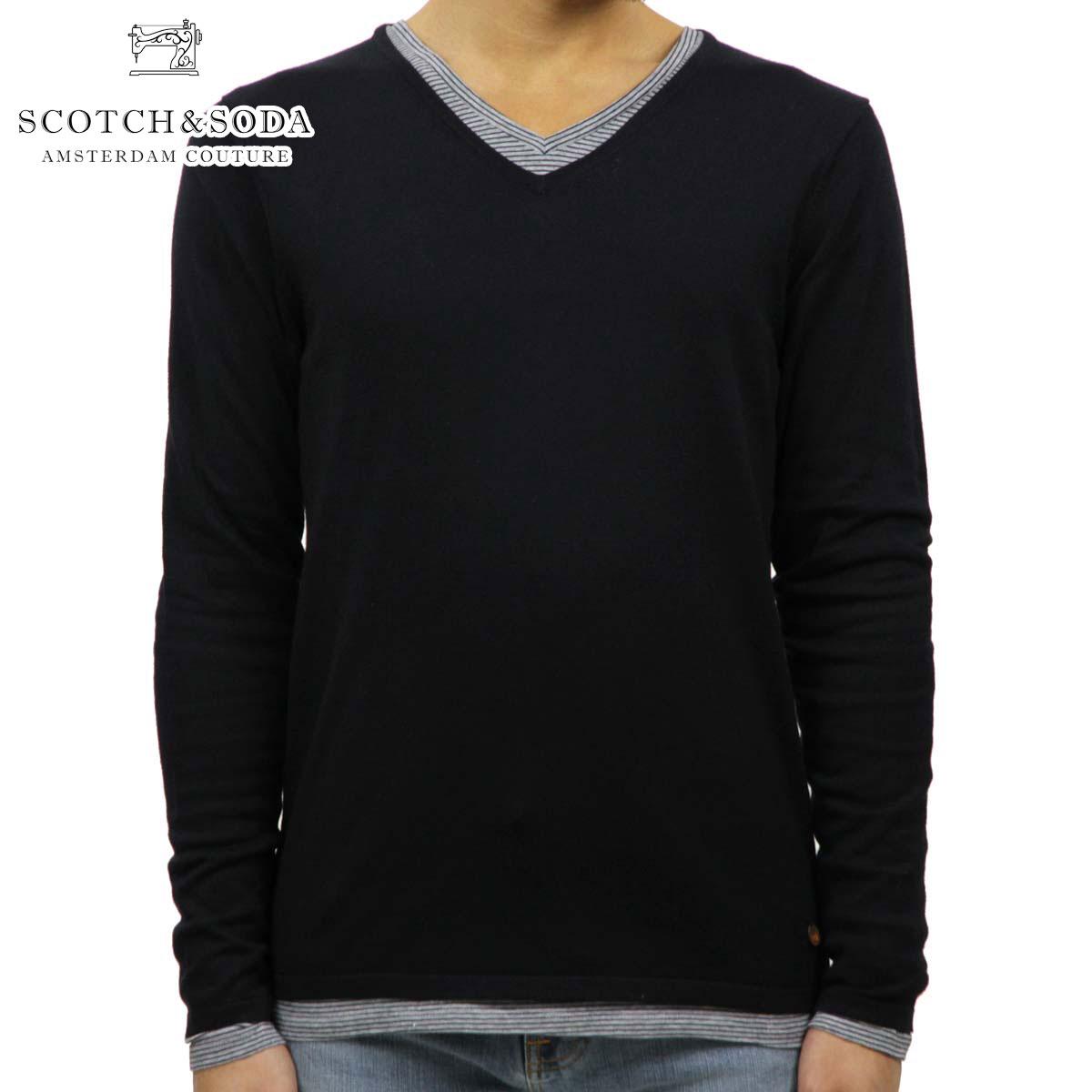 スコッチアンドソーダ SCOTCH&SODA 正規販売店 メンズ セーター COTTON/ACRYLIC V-NECK PULL 60026 58 D00S20