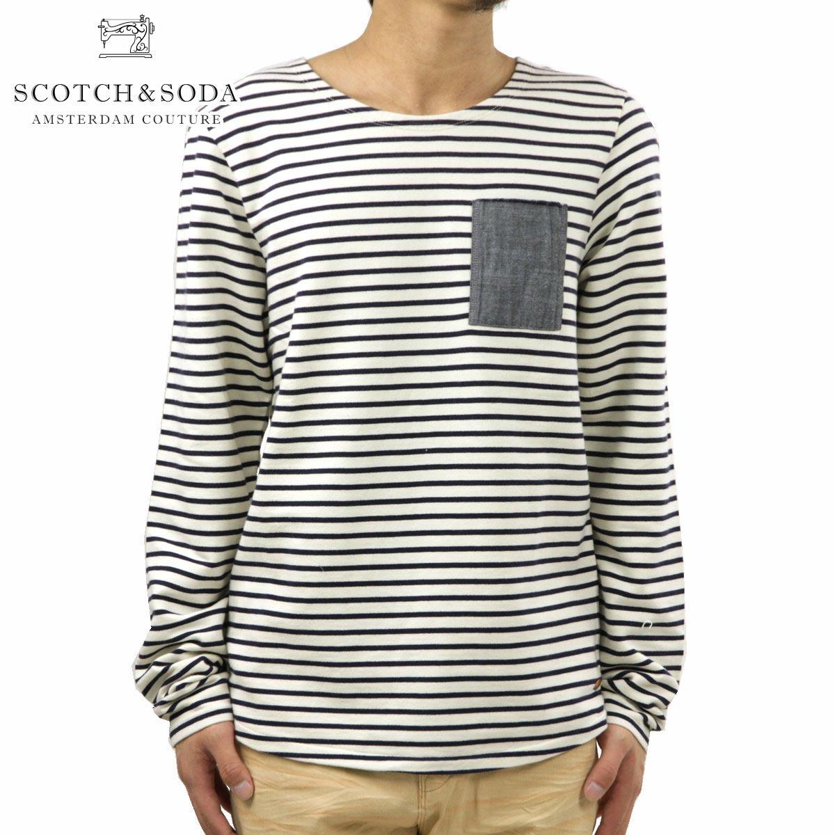 スコッチアンドソーダ SCOTCH&SODA 正規販売店 メンズ 長袖Tシャツ Yarn dye stripe sweat with spray 132118 04 D00S15