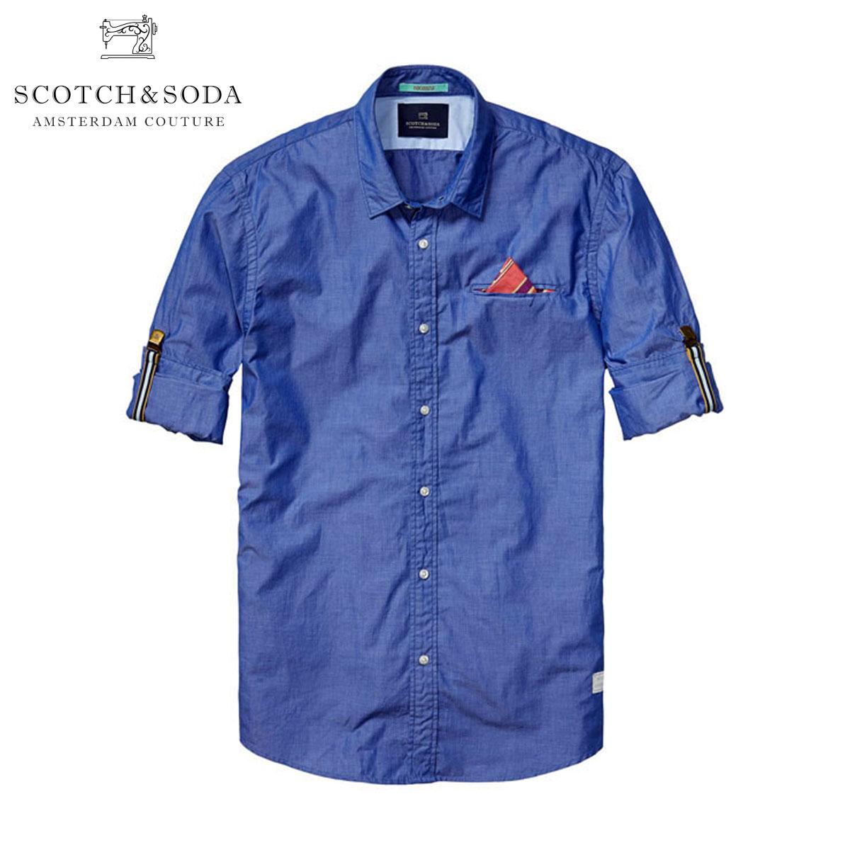 スコッチアンドソーダ SCOTCH&SODA 正規販売店 メンズ 長袖シャツ Longsleeve shirt with fixed pochet. Sold with sleeve suspender 130717 37 D15S25