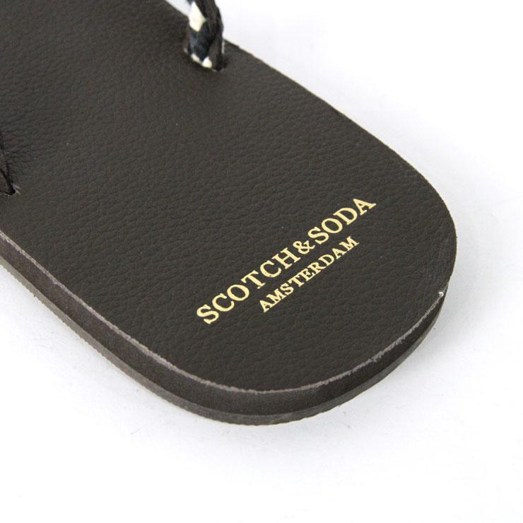 苏格兰威士忌和苏打SCOTCH&SODA正规的店铺人凉鞋Leather flip flop. Sold in a bag 130963 70