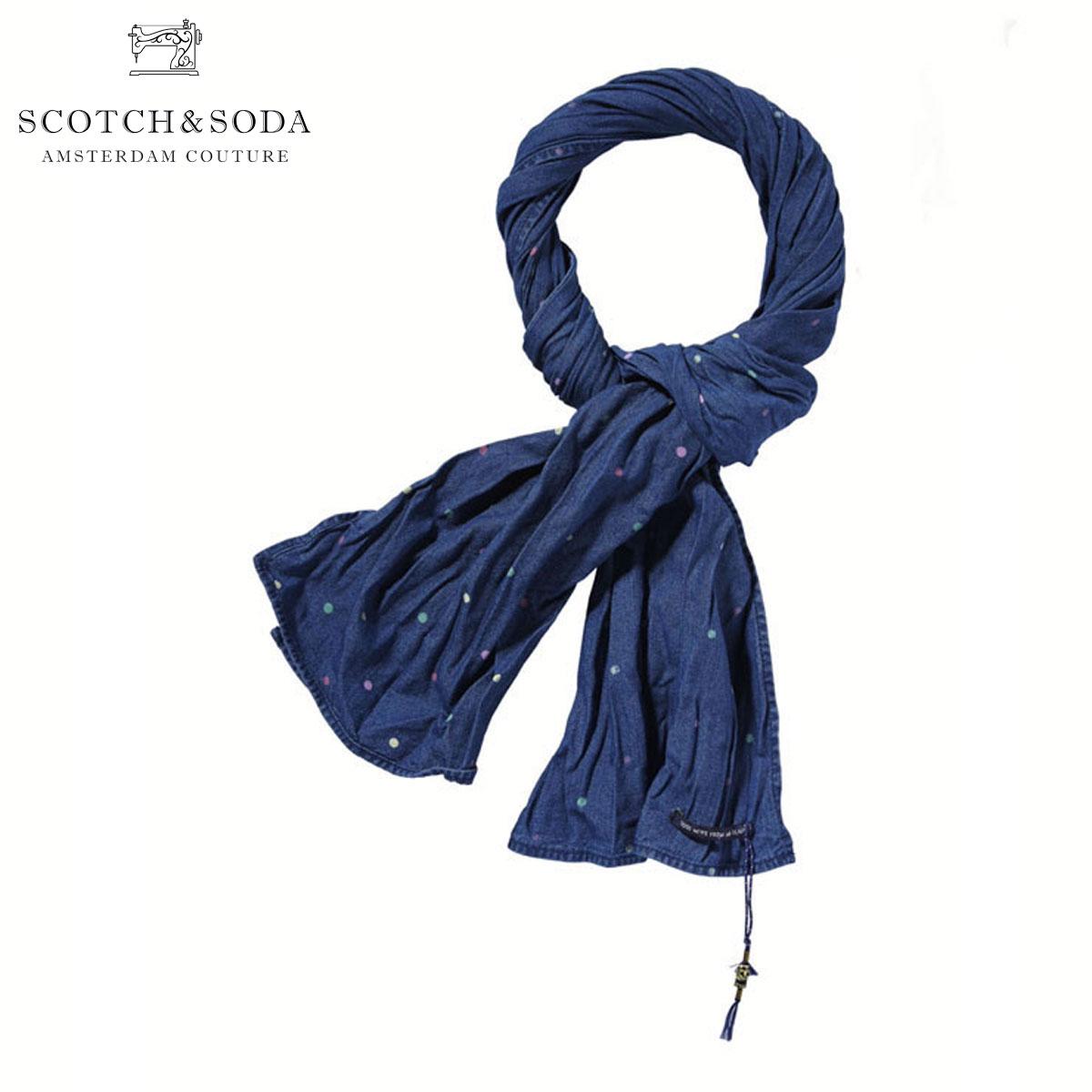 【販売期間 8/1 15:00~8/9 9:59】 スコッチアンドソーダ SCOTCH&SODA 正規販売店 メンズ ストール Indigo dot scarf 128136 B