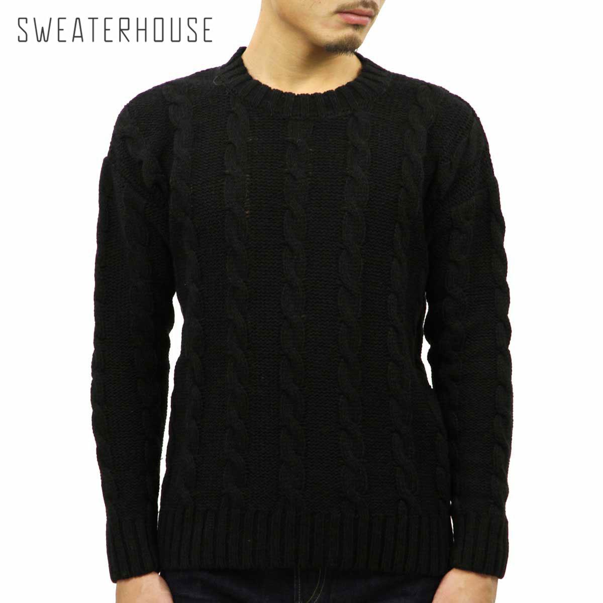 セーターハウス SWEATERHOUSE 正規販売店 メンズ セーター CREW NECK CABLE KNIT SWEATER 1KN1235 6035 BLACK