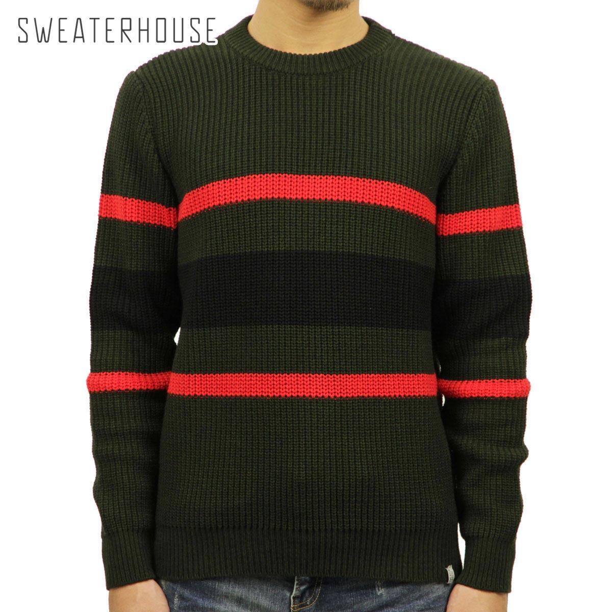 セーターハウス SWEATER HOUSE 正規販売店 メンズ クルーネックセーター CREW NECK STRIPE KNIT SWEATER 1KN1477 6007 042 DARK GREEN