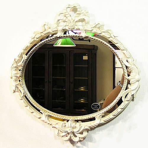 【クーポン配布中】イタリアウォールミラー・アンティークホワイト【あす楽】 イタリア製のおしゃれ ミラー 壁掛け アンティーク ミラー 壁掛け 鏡 全身鏡 姿見 ロココ クラシック 鏡