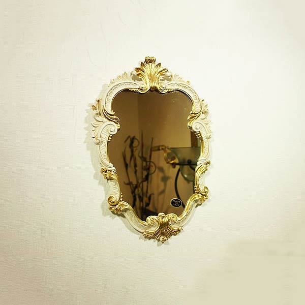 【クーポン配布中】イタリア製【クラシックウォールミラー・アンティークホワイト】 おしゃれなミラー 壁掛け鏡 アンティークミラー 全身鏡 姿見・ロココ クラシック鏡