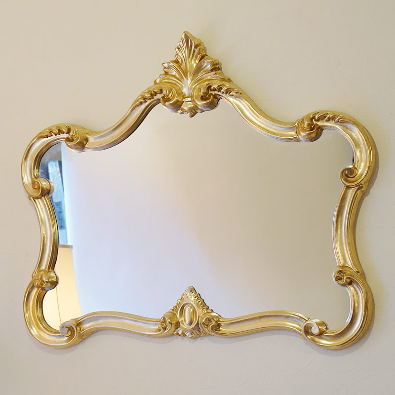 【クーポン配布中】鏡 クラシックミラー ゴールド【送料無料】イタリア製 おしゃれ ミラー 壁掛け 鏡 アンティーク ミラー 壁掛け 鏡 全身鏡 姿見・ロココ クラシック 鏡