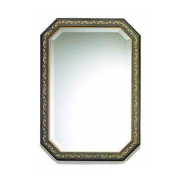 イタリア製 八角ミラー ブルー&ゴールド イタリア製 トイレ 玄関に ! 壁掛け式 新築祝い アンティーク風 八角鏡