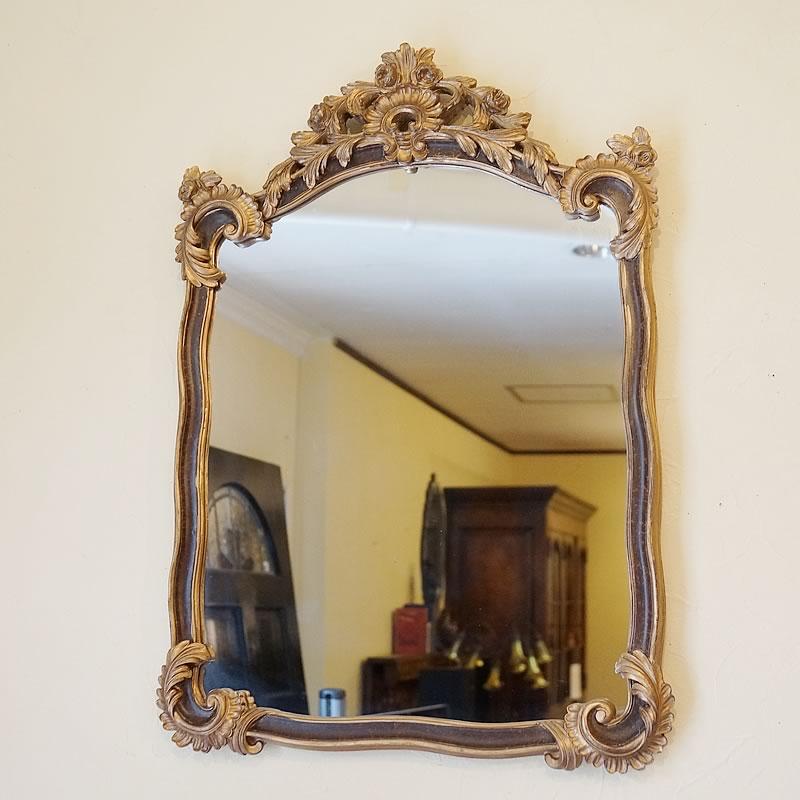 【クーポン配布中】鏡 クラシックミラー ブラウン&ゴールド【送料無料】鏡 壁掛け おしゃれ 鏡 姿見 ミラー 全身 壁掛け アンティーク ミラー ロココ クラシック 鏡 姿見 ミラー 鏡 壁掛け