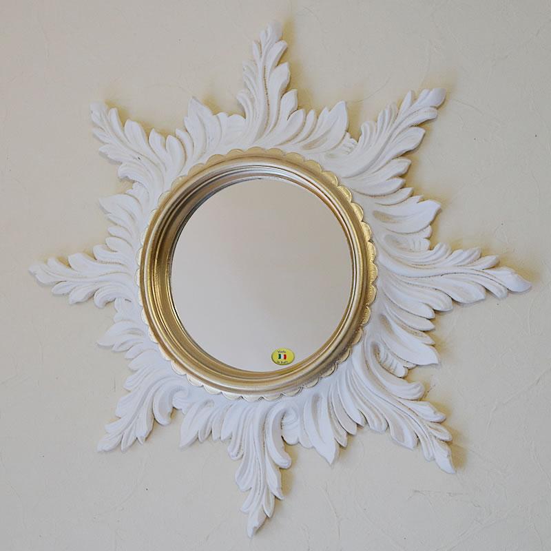送料無料 イタリア製 ウォールミラー Mirror 太陽の鏡 ホワイト ゴールド アイザス スーパーセール特別価格 イタリア 優先配送 壁掛け 新商品 アンティーク 鏡 おしゃれ ミラー ロココ