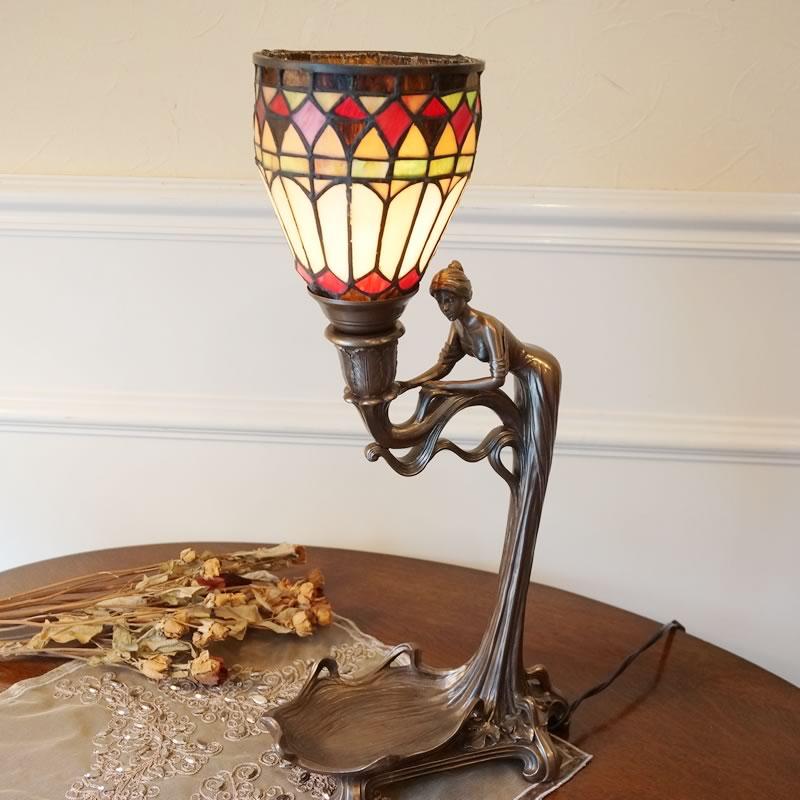 ステンドグラスランプ ブロンズ像風 女性【送料無料】ステンドグラス ランプ スタンド テーブルランプ 人気 おしゃれ 雑貨 ヨーロピアン アンティーク風 インポート 照明器具