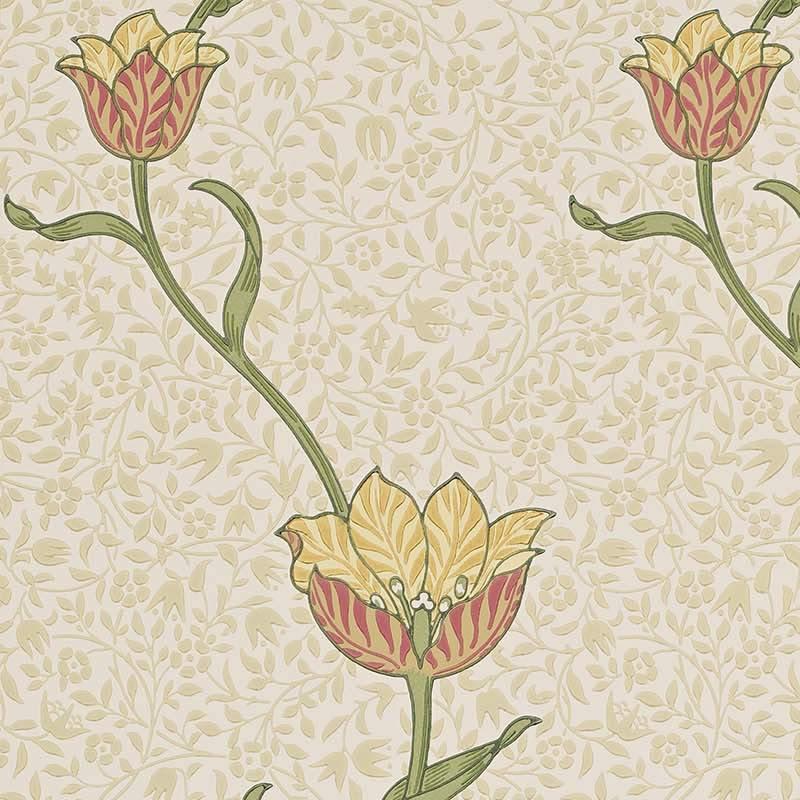 【クーポン配布中】ウィリアムモリス 壁紙【ガーデン チューリップ Garden Tulip】おしゃれ 壁紙 ウォールペーパー クロス 輸入壁紙 イギリス製 アンティーク 壁紙 植物 インテリア 本物 Morris【m-g-t-210392】
