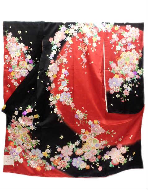 七五三 七歳用 女子 正絹 着物 黒 赤地 刺繍 鈴 枝垂れ桜 柄No.3112