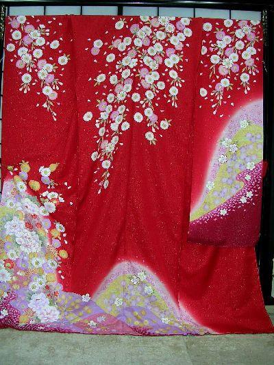 ▲正絹本振袖:別誂え手縫い仕立て付▲赤地に牡丹柄no105
