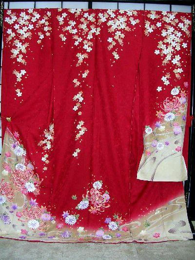 ▲正絹本振袖:別誂え手縫い仕立て付▲赤地に乱菊と桜柄no107