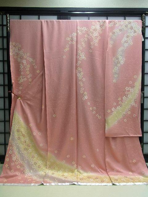 豪華 ★正絹振袖★オレンジピンク地に小桜柄no304