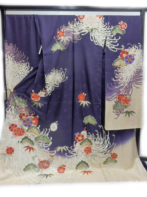 豪華 正絹 振袖 仕立て付 紫地 乱菊 梅 柄 no2911