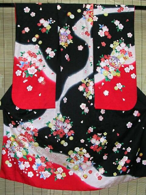 【レンタル】七五三レンタル★七歳女の子着物セット★黒地につづみと桜柄noE