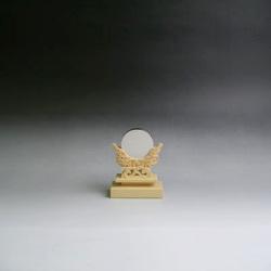 神鏡 神具 神棚 青銅 鏡 + 特上 彫り 雲形 台 サイズ 1寸5分