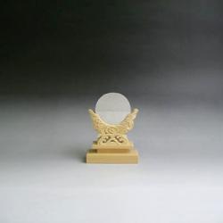 神鏡 神具 神棚 青銅 鏡 + 特上 彫り 雲形 台 サイズ 2寸