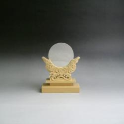 神鏡 神具 神棚 特上 鏡 + 特上 彫り 雲形 台 サイズ 2.5寸