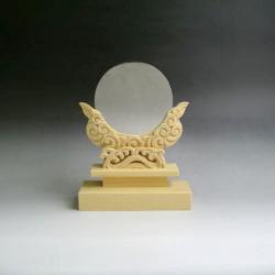 神鏡 神具 神棚 青銅 鏡 + 特上 彫り 雲形 台 サイズ 3寸5分