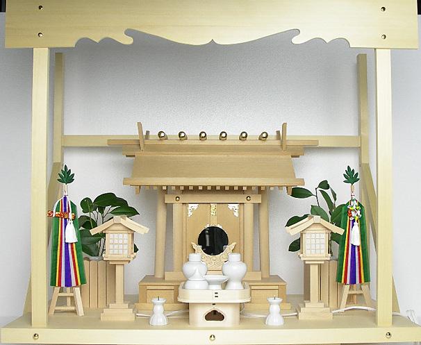神棚 板葺一社宮〈I-22'〉+神具セット(フル・小)+神棚板+雲板(大)のセット