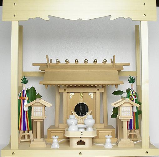 神棚 板葺一社宮〈I-22'〉+神具セット(フル・小)+神棚板+雲板(中)のセット