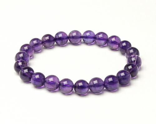 アメジスト アメシスト 紫水晶 天然石 パワーストーン ブレス ブレスレット アメジスト 9φ 22玉 No.61