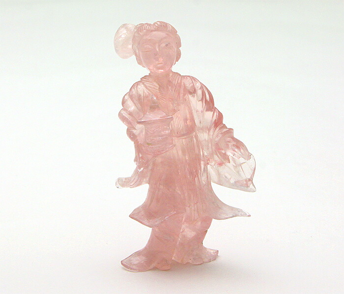天然石 彫刻 甲府彫刻 天女 (ローズクォーツ) No.20