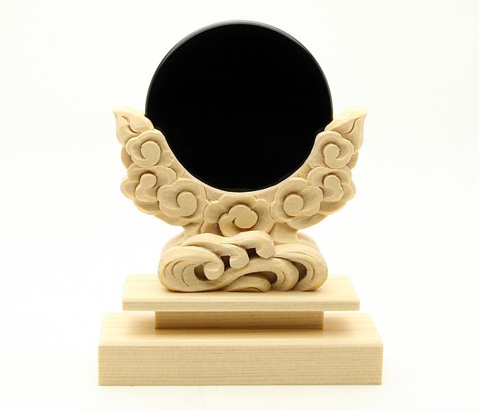 神鏡 2寸 黒曜石製 神鏡+特上彫り雲形台 2寸