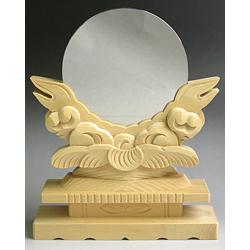 神鏡 神具 神棚 白銅 鏡 + 特上 彫り 雲形 台 サイズ 7寸 鏡台B