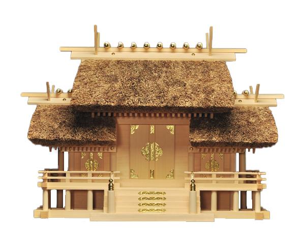 神棚 【 茅葺屋根違い 三社宮 K-4 】 三重県指定伝統工芸品 伊勢の神殿 伊勢神宮 の最も大きい神楽大麻(縦31.5×横8.5cm)までお祀りいただけます