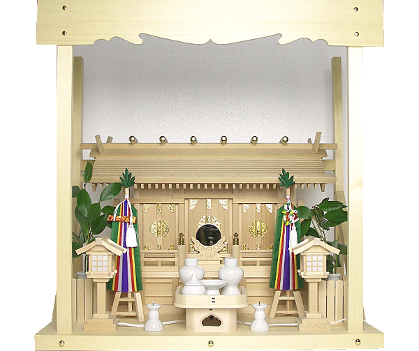 神棚 板葺三社宮〈I-17〉+神具セット(フル・小)+神棚板+雲板(中)のセット