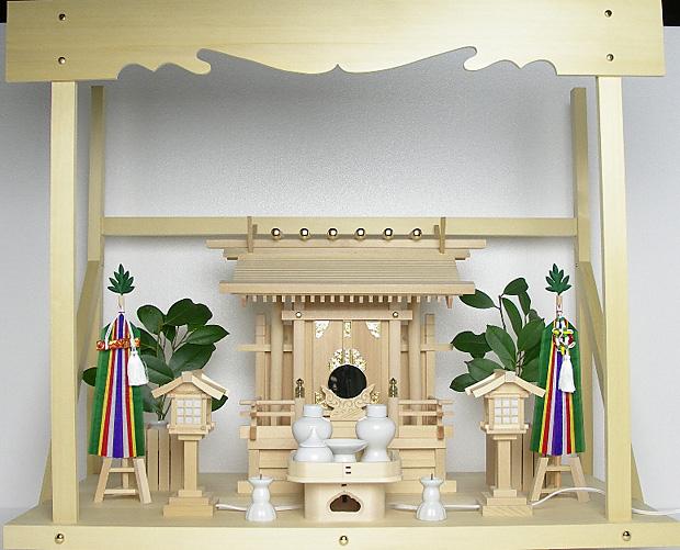 神棚 板葺一社宮 袖・階段付き(中)〈I-29〉+神具セット(フル・小)+神棚板+雲板(大)のセット