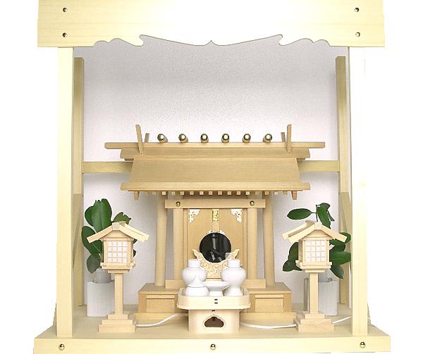神棚 板葺一社宮〈I-21〉+神具セット(ハーフ・中)+神棚板+雲板(中)のセット