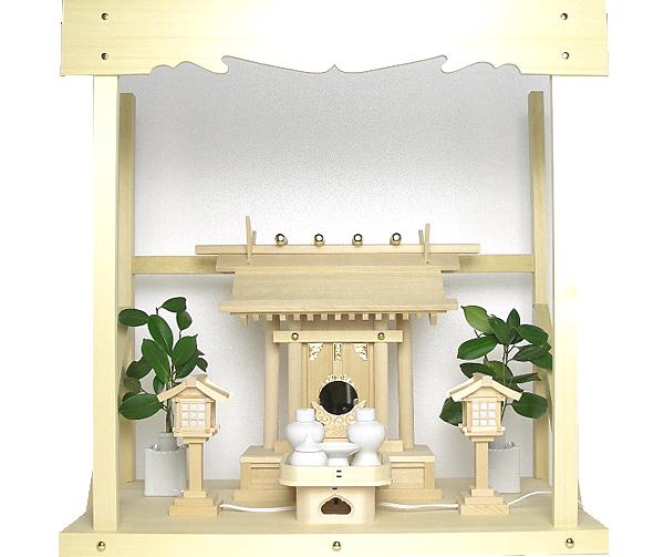 神棚 板葺一社宮〈I-22〉+神具セット(ハーフ・小)+神棚板+雲板(中)のセット