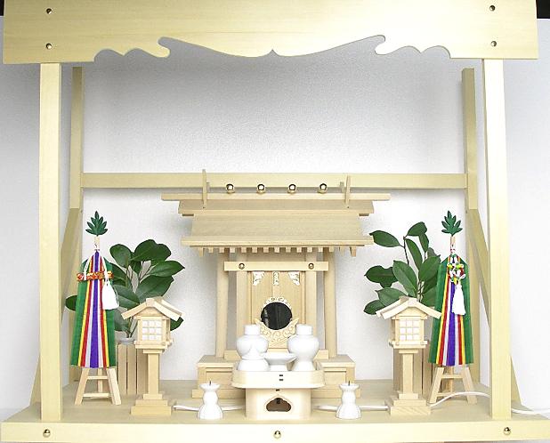 神棚 板葺一社宮〈I-22〉+神具セット(フル・小)+神棚板+雲板(大)のセット