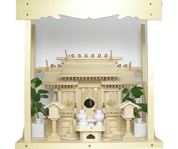 神棚 板葺屋根違い三社宮〈I-5〉+神具セット(ハーフ・小)+神棚板+雲板(中)のセット