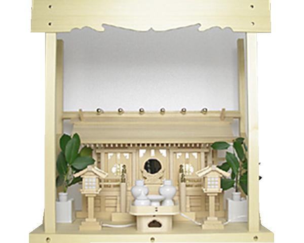 神棚 板葺三社宮〈I-7'〉+神具セット(ハーフ・小)+神棚板+雲板(中)のセット