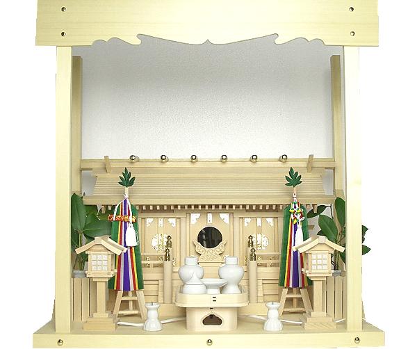 神棚 板葺三社宮〈I-7'〉+神具セット(フル・小)+神棚板+雲板(中)のセット