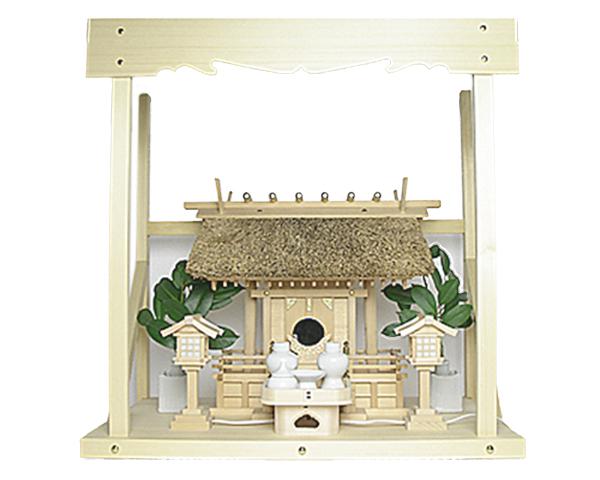 神棚 茅葺一社宮 五十鈴型〈K-10〉+神具セット(ハーフ・小)+神棚板+雲板(中)のセット