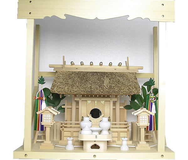 神棚 茅葺一社宮 五十鈴型袖付き〈K-11〉+神具セット(フル・小)+神棚板+雲板(中)のセット