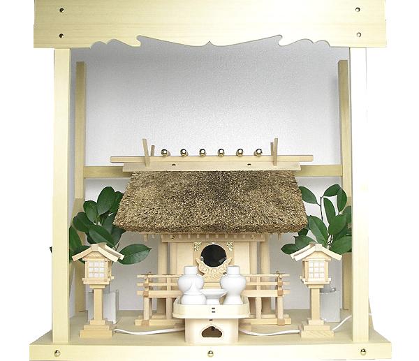 神棚 茅葺一社宮〈K-3〉+神具セット(ハーフ・小)+神棚板+雲板(中)のセット