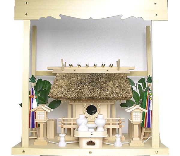 神棚 茅葺一社宮〈K-3〉+神具セット(フル・小)+神棚板+雲板(中)のセット