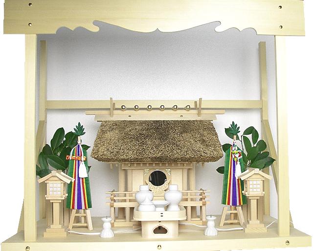 神棚 茅葺一社宮〈K-3〉+神具セット(フル・小)+神棚板+雲板(大)のセット