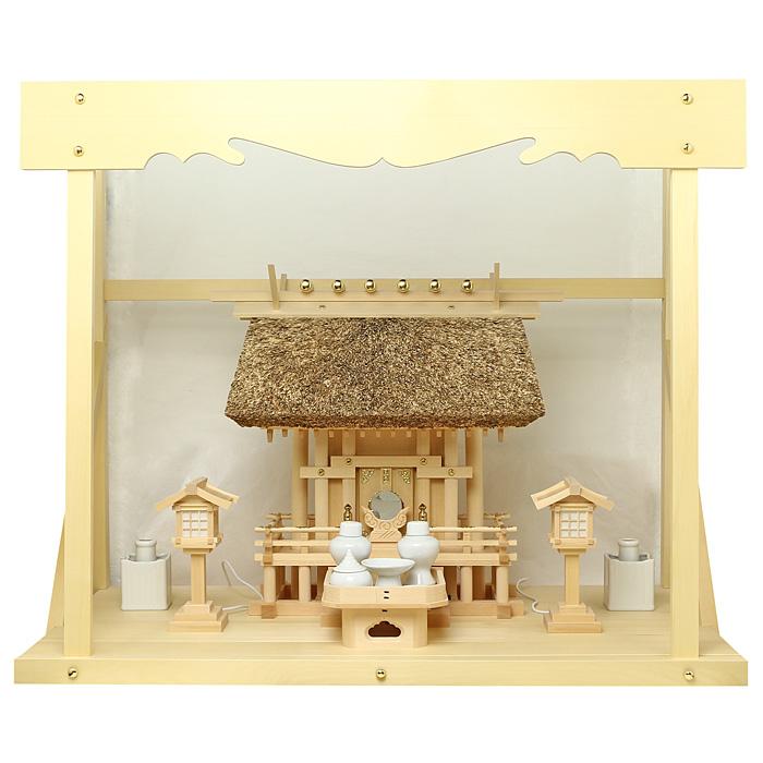 神棚 茅葺一社宮 正殿型〈K-9〉+神具セット(ハーフ・小)+神棚板+雲板(大)のセット