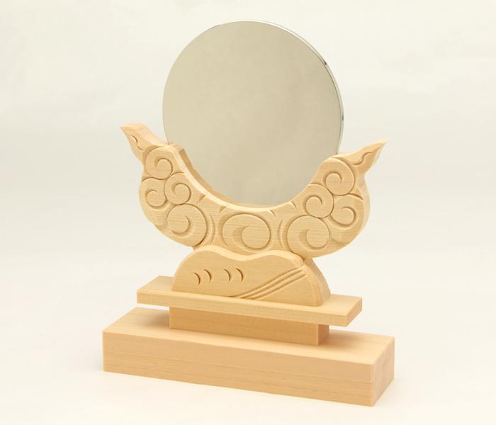 神鏡 神具 神棚 鏡 + 木曽桧製 雲形 台 サイズ 3寸
